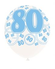 80th Birthday Blue Glitz Latex Balloons 12 inch